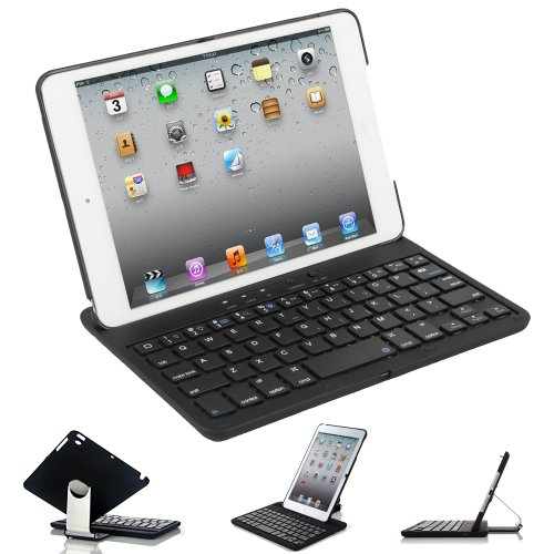 FlyStone Apple iPad Mini Keyboard Bluetooth Case Cover Stand With 360 Degree Rotating Feature And Multiple Viewing Angles For 7.9 Inch New Mini iPad. Folio Style with IOS Commands. For Apple New Mini