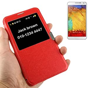 Crazy4Gadget Silver Hairline Texture Leather Case with Call Display ID for Samsung Galaxy Note III / N9000(Red)