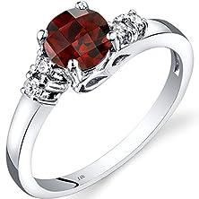 buy 14K White Gold Garnet Diamond Solstice Ring