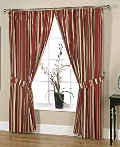 "Henley Red 90"" (width) x 90"" (drop) Contemporary Stripe Cotton Print Pencil Pleat Curtains. Sold in pairs."