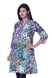 Sohniye Women's Cotton Kurta [GA062_Purple Green_Large]