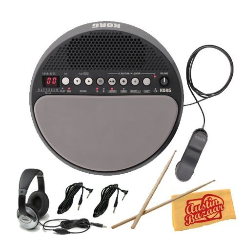 Korg Wavedrum Mini Dynamic Percussion Synthesizer Bundle with Two 10-Foot Instrument Cables, Headphones, Drum Sticks, and Polishing Cloth