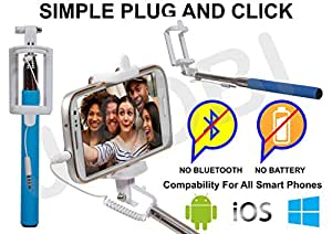 Selfie Stick Monopod With Wired Aux Cable Connectivity Compatible For Samsung Galaxy Grand Duos i9082 -Cyan