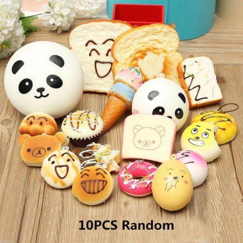 [10PCS Jumbo Medium Mini Random Squishy Soft Bread/Cake/Panda/Buns Phones Straps] (Giant Monster Costume For Sale)