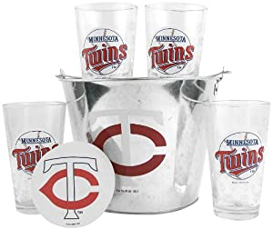 MLB Minnesota Twins Satin Etch Bucket and 4 Glass Gift Set by Boelter Brands