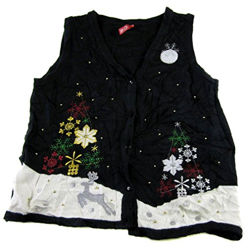 Xvest-1181 - Ugly Christmas Sweater Vest - Ladies - Medium - Black