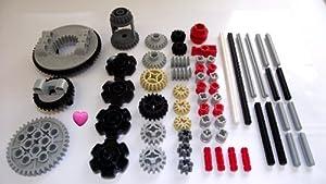 LEGO TECHNIC 60-Piece Gear Wheel, Axle and Stopper Set