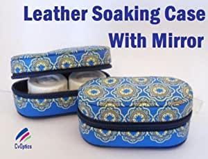 Blue Pattern Leather Contact Lens Case With Mirror