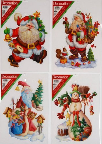 Idea Natale: set di 4 DECO STICKERS effetto VENTOSA per finestra, Babbo Natale sogg assortiti. 42x30cm