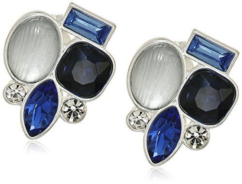 t-tahari-matte-silver-blue-multi-stone-clip-on-earrings