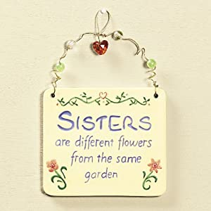 Sisters Hanging Ceramic Tile With Wire And Beads Hanger Whimsical Quote Sisters