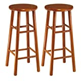 Winsome Wood Assembled 30-Inch Cherry Finish Bar Stools, Set of 2 (Kitchen)