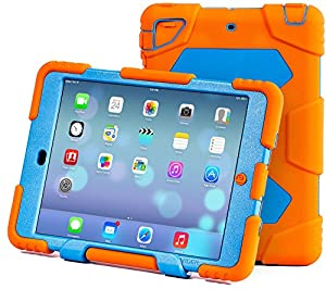 Ipad Case,Ipad Mini 2 Case,Ipad Mini 3 Case,ACEGUARDER®ipad mini case Case for kids Rainproof Shockproof Anti-Dirt Drop Resistance Case(orange-blue) by ACEGUARDER