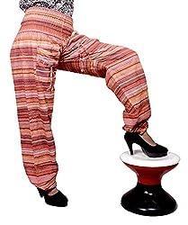 Cotton Aladdin Striped Genie Harem Beggy Pants Gypsy Trousers Free Size (Orange)