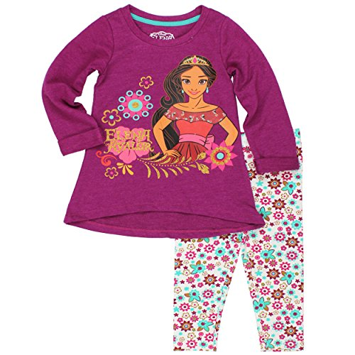 Disney Little Girls' 2 Piece Elena of Avalor French Terry Top and Legging Set