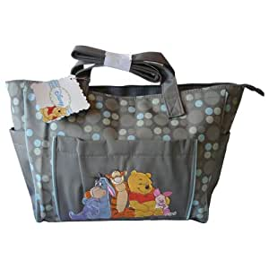buy disney winnie the pooh large diaper bag gray with dots online at low prices in india. Black Bedroom Furniture Sets. Home Design Ideas