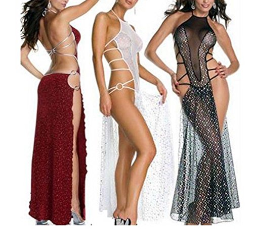 Open Fork Backless Lingerie Perspective Nightclub Costumes Dress Q058