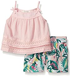 Jessica Simpson Little Girls' Ledo Solid/Print 2pc Set, Pink/Multi, 6X