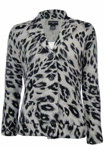 Sutton Studio Womens Cashmere Leopard Sweater Jacket Misses (Medium) [Apparel]