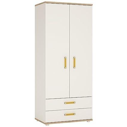 Furniture To Go 4Kids 2-Door Wardrobe with 2-Drawer with Orange Handles, Wood, White Gloss/Light Oak