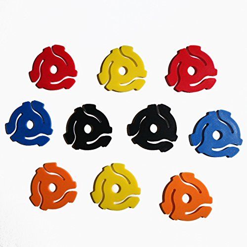 Cheapest Price! (10 Pack) TEN Mixed Color Plastic 45 RPM 7 Inch Vinyl Record Adapter / Adaptor - 7 ...