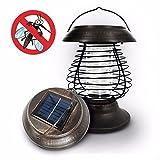 Grandey Outdoor UV LED Solar Powered Lawn Light Anti Mosquito Killer Bug Zapper Wasp Moth Light Killing Yard Garden Lawn Light Lamp