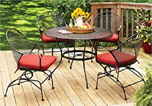 Better Homes and Gardens Clayton Court 5-piece Patio Dining Set, Wrought Iron Table and 4 Chairs, Red Cushions, Seats 4 from Pasco Enterprises Ltd.