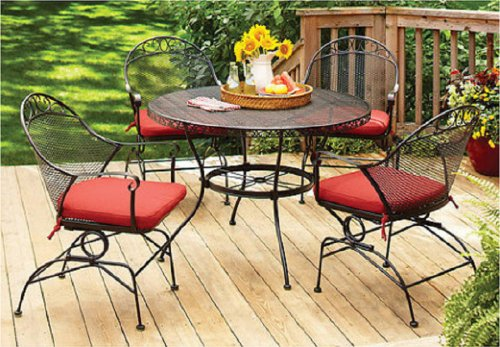 Better Homes and Gardens Clayton Court 5-piece Patio Dining Set, Wrought Iron Table and 4 Chairs, Red Cushions, Seats 4 picture