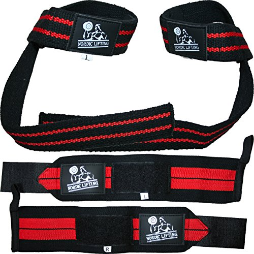 Wrist Wraps + Lifting Straps Bundle (2 Pairs) for Weightlifting, Crossfit, Workout, Gym, Powerlifting, Bodybuilding - Support for Women & Men, Avoid Injury during Weight Lifting - Red, 1 Year Warranty