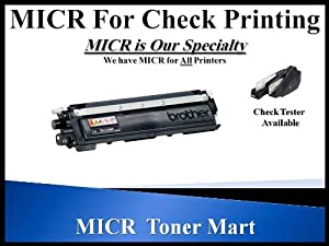 Brother MICR Toner TN210BK / TN-210BK HL-3040 HL-3070CW HL-3075CW MFC-9010CN 2.2K MICR Toner Cartridge for Check Printing (Use Color Printer to Design and Print Your Own Checks.) by MICR Toner Mart.