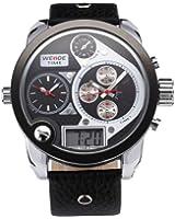 Weide 3 Time Zone Oversize Black White Dial Dual Display Analog Mens Bracelet Watch