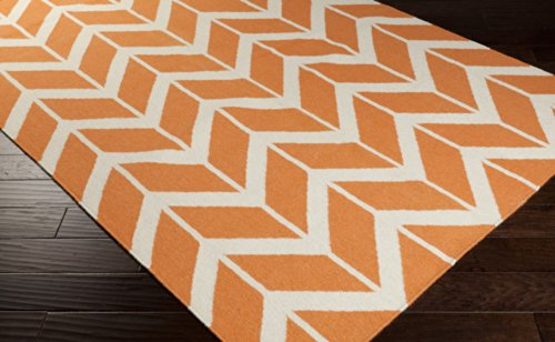 Jill Rosenwald by Surya Fallon FAL-1081 Flatweave Hand Woven 100% Wool Papaya 8' Round Geometric Area Rug