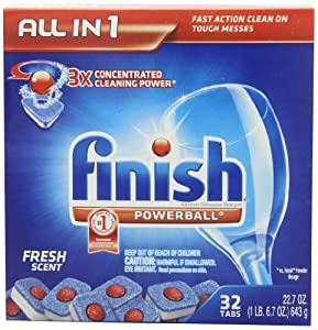 Finish Powerball Tab Automatic Dishwasher Detergent, Fresh Scent, 68.1-Ounce, 32 Tabs, 3 Count