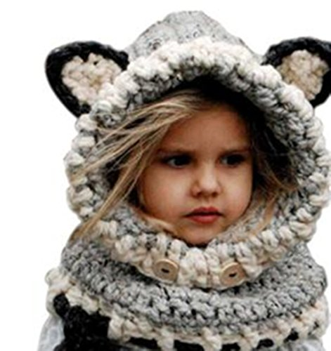 Winter Wool Knitted Earflap Hat Scarf Hood Scarves Baby Girls Cowl Beanie Caps (Gray) (Head Scarf For Girls compare prices)