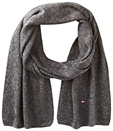 Tommy Hilfiger Men\'s Flag Solid Scarf, Charcoal, One Size