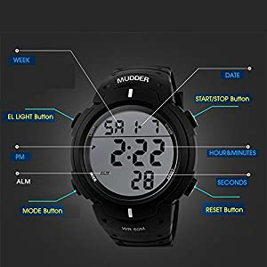 Mudder Men Sports 5ATM Dive Waterproof Blacklight Digital Fashion Military Multifunctional Wristwatches by Mudder