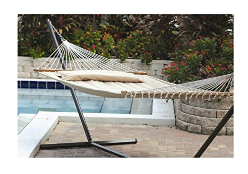 Extra Large Double Size 2 Person Fabric Quilted Hammock with Metal Stand