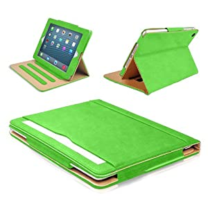 MOFRED® Green & Tan Apple iPad Air (2013-2014 Version) Leather Case-MOFRED®- Executive Multi Function Leather Standby Case for Apple New iPad Air with Built-in magnet for Sleep & Awake Feature