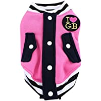 Imported Pet Dog Cat Baseball Jacket Winter Clothes Coat Uniform Costumes Pink XL