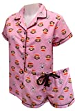 Paul Frank Julius and Hearts Red Flannel Shortie Pajamas for women