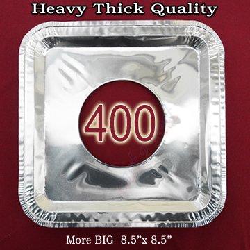 400 Pcs Aluminum Foil Square Gas Burner Disposable Bib Liners Covers