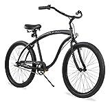 Firmstrong Bruiser Man Three Speed Beach Cruiser Bicycle, Matte Black, 19 inch / Large
