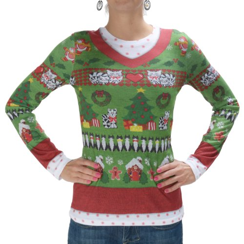 Ladies Ugly Christmas Sweater T-shirt Xl