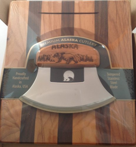 Alaska Ulu Birch/ Walnut Stripe Chopping Bowl Set Engraved Bear Ulu Knife