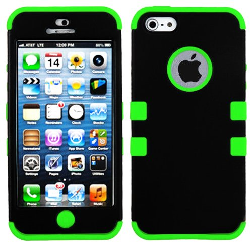 Mylife (Tm) Spring Green And Black - Colorful Robot Series (Neo Hypergrip Flex Gel) 3 Piece Case For Iphone 5/5S (5G) 5Th Generation Itouch Smartphone By Apple (External 2 Piece Fitted On Hard Rubberized Plates + Internal Soft Silicone Easy Grip Bumper Ge