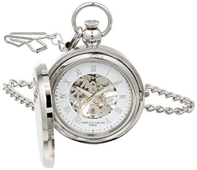 Charles-Hubert Pocket Watch 3850 Chrome Plated Picture Frame Full Hunter