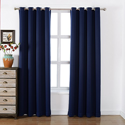 AMAZLINEN Sleep Well Blackout Curtains Toxic Free Energy Smart Thermal Insulated,52 W X 84 L Inch,Grommet Top,Set Of 2 Panels Navy Curtains With Bonus Tie Back (French Door Panel Curtains Blue compare prices)