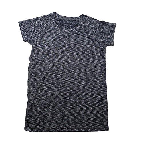 HAOYU Men Crew-Neck Short-Sleeve Tight-fitting Black Athletic T-shirt HY-012