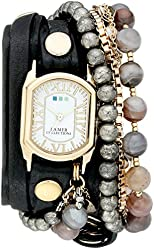 La Mer Collections Women's LMMULTI2040 Black Positano Italian Stones Analog Display Quartz Black Watch