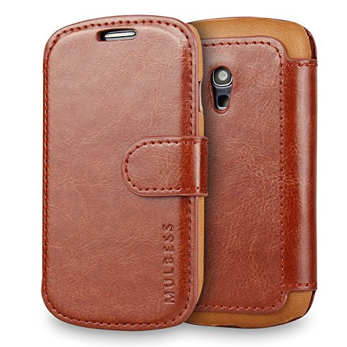 Galaxy S3 mini Case Wallet,Mulbess [Layered Dandy][Vintage Series][Coffee Brown] - [Ultra Slim][Wallet Case] - Leather Flip Cover With Credit Card Slot for Samsung Galaxy S3 mini i8190 (Folio Samsung S3 Mini compare prices)